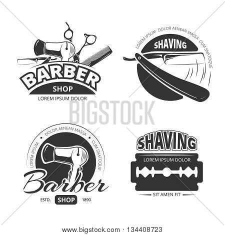 Vintage barber shop vector logo, labels and badges. Shaving and barbershop label, scissors and barber logo, badge or label barbershop illustration
