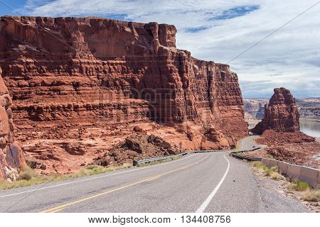 Highway Descending To Lake Powell And Colorado River In Glen Canyon National Recreation  Area