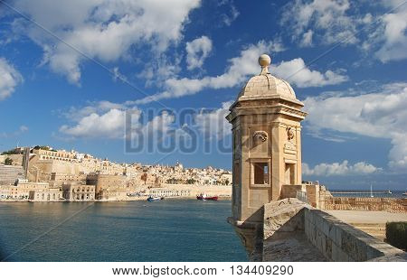 Vedette watchtower at the tip of the peninsula in Senglea, Malta.