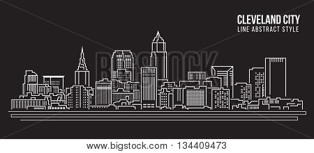 Cityscape Building Line art Vector Illustration design - Cleveland city