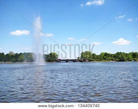 Hamburg Lake Binnenalster Fountain, Germany