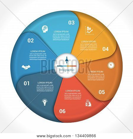 Template infographic six position steps parts with text area vector illustration colourful in the form of flower petals. Business pie chart diagram data.