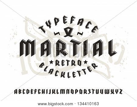 Sanserif font in black letter style and volume effect. Gothic typeface on light background