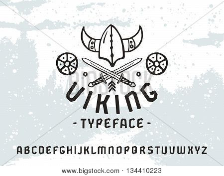 Sanserif font in historical style. Viking typeface. Black print on light texture background