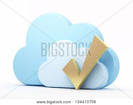 Cloud computing technology, check mark. 3d rendered illustration.