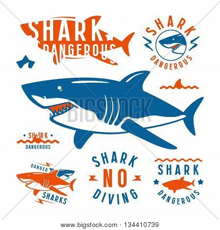 Shark dangerous emblems labels and design elements. Color print on white background