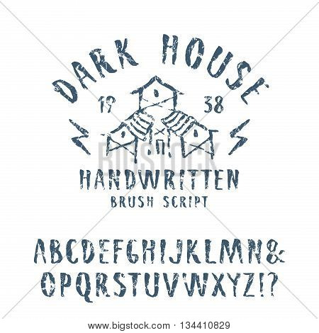 Vector handwritten brush font in horror style. Blue print with shabby texture on white background