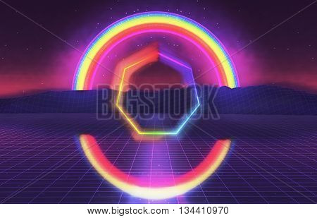 3D Illustration - 80s futuristic landscape with rainbow.