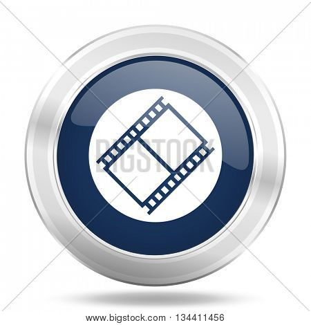 film icon, dark blue round metallic internet button, web and mobile app illustration