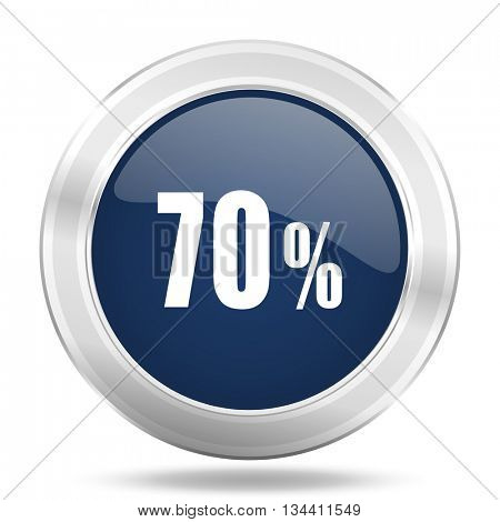 70 percent icon, dark blue round metallic internet button, web and mobile app illustration