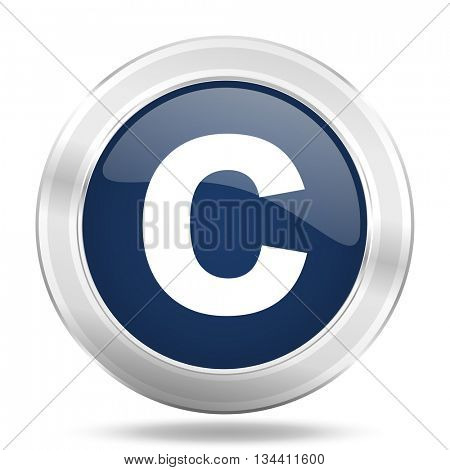 copyright icon, dark blue round metallic internet button, web and mobile app illustration