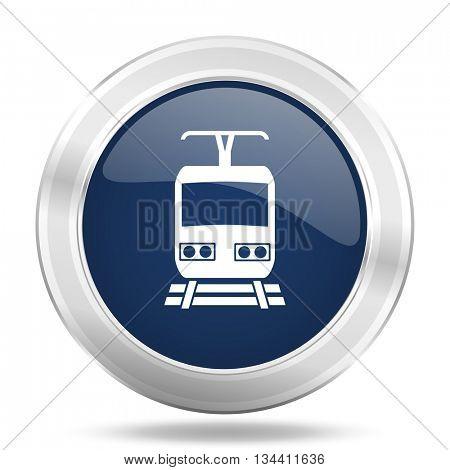 train icon, dark blue round metallic internet button, web and mobile app illustration