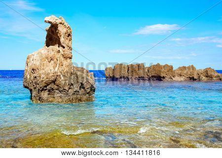 Denia Las rotas beach near Sant Antonio cape of alicante spain