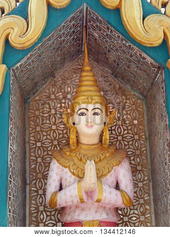 A beautiful, unusual detail in the temple  or pagoda of Pyin Oo Lwin, a hill town in Mandalay Division, Myanmar (Burma)