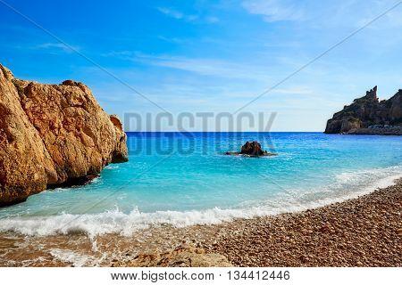 Cala del Moraig beach in Benitatxell of Alicante in Spain