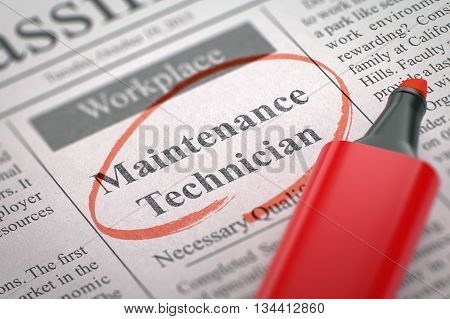 A Newspaper Column in the Classifieds with the Jobs Section Vacancy of Maintenance Technician, Circled with a Red Highlighter. Blurred Image. Selective focus. Job Search Concept. 3D Rendering.