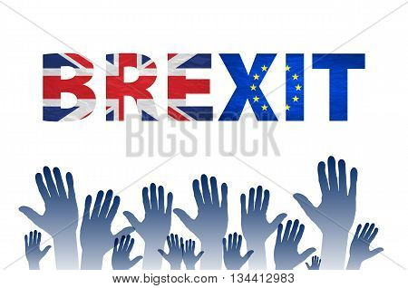 Brexit Text Isolated Vector Hand. Flag Of The European Community Of The United Kingdom