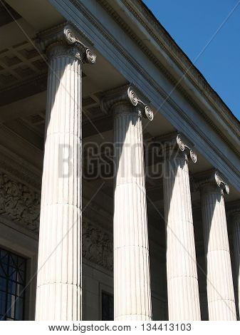 Perspective of portico with column relief friez ornaments and seiling decoration. Entrance to the Moscow Museum of Fine Arts