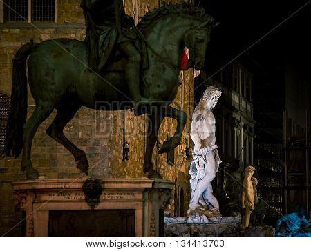 Statues at night in piazza della signoria florence