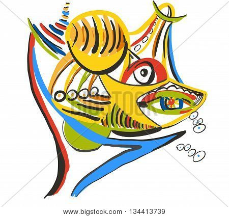 Shark with prey. Style of Abstract art Suprematism Constructivism. Design element suitable for prints posters and covers.