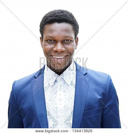 happy young man of african descent with toothy smile isolated on white