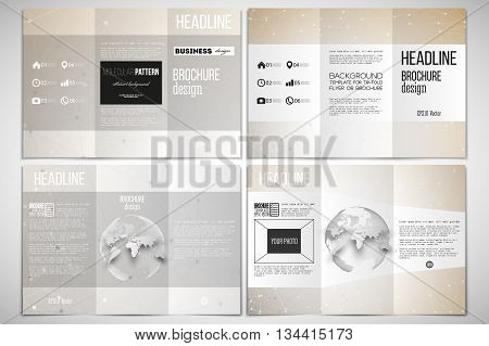Vector set of tri-fold brochure design template on both sides with world globe element. Abstract polygonal low poly backdrop with connecting dots and lines, connection structure.