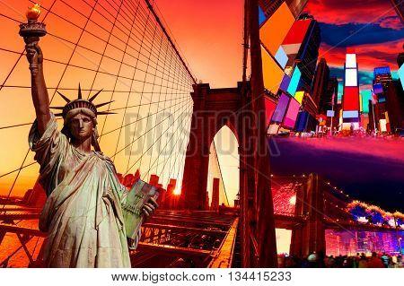 Liberty Statue and New York American Symbols USA photomount
