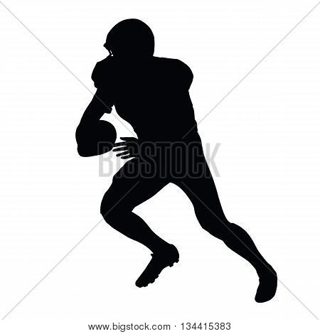American football player vector isolated silhouette. Running football player side view