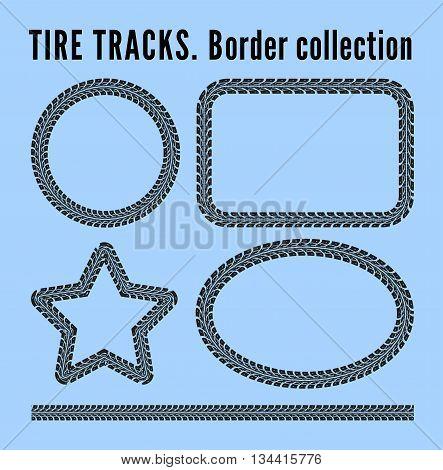 Tire tracks frame set. Vector illustration on blue background