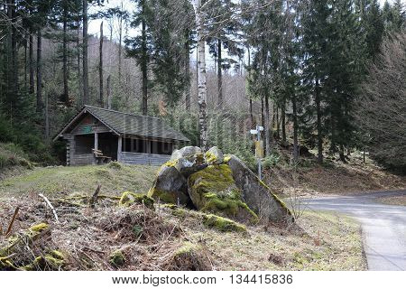 Mountain Road Junction With Resting Hut In Black Forest, Baden-wurttemberg, Germany