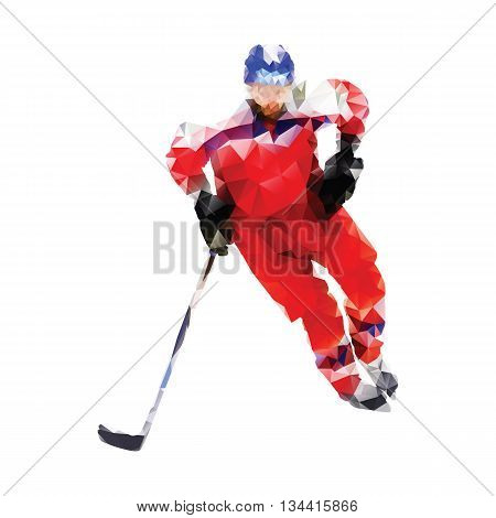 Polygonal ice hockey player. Abstract red vector geometrical hockey player. Isolated vector silhouette. Winter sport