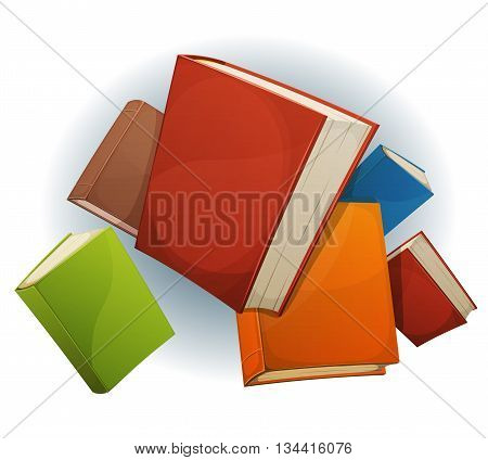 Illustration of a set of cartoon stack of books flying with red green blue brown and yellow covers isolated on white background for bookstore or library blog showcase
