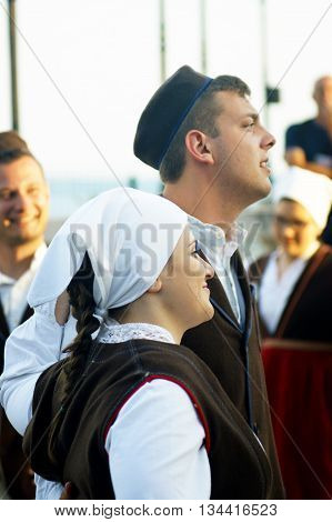 Montenegro, Herceg Novi - 28/05/2016: Boy and girl of the folk ensemble