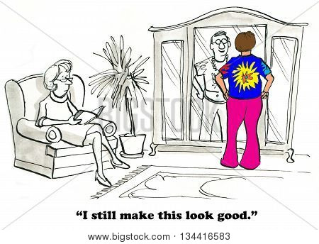 Cartoon about a man wearing his 1960s clothes and remembering happy times.