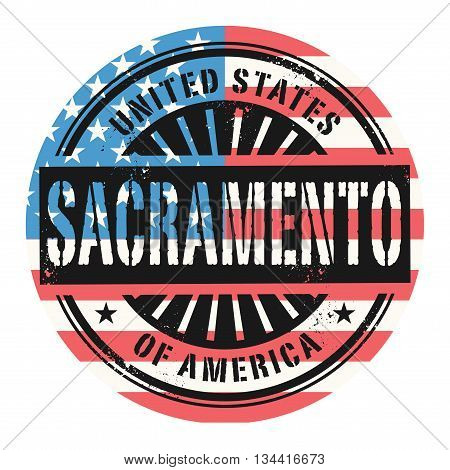 Grunge rubber stamp with the text United States of America, Sacramento, vector illustration