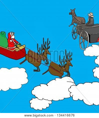 Christmas cartoon of Santa's sleigh passing an Amish wagon.