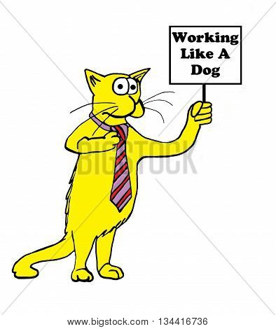 Cartoon of yellow cat holding sign, 'working like a dog'.