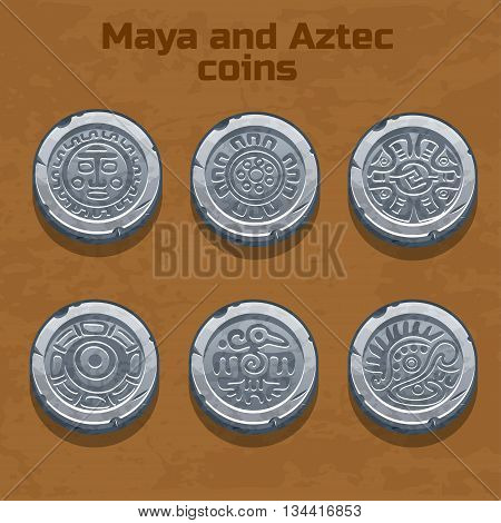 old silver aztec and Maya coins, resource gaming element