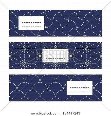 Horizontal Banners. Japanese Embroidery motifs. Abstract sashiko background with copy space for text. Japanese quilting cards. Text frame. Japanese Antique fancywork theme.
