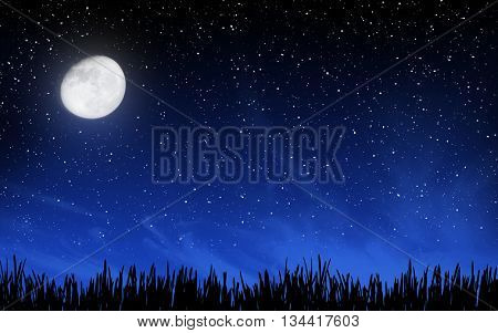 Deep night sky with many stars and moon over grass background