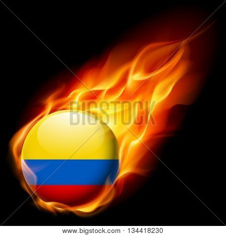 Flag of Colombia as round glossy icon burning in flame