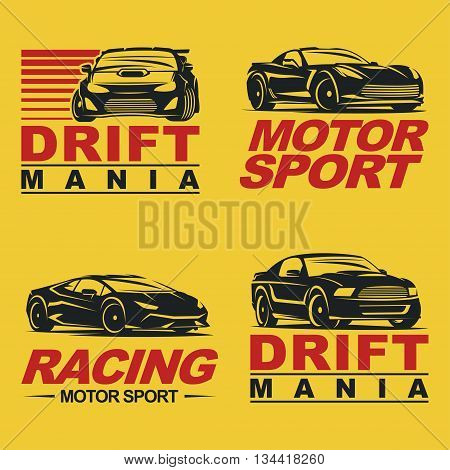 Set of four sport cars logo template, badge illustration on white background.Drift, Drag racing, Tuning, Motor Sport. EPS 10 Vector.
