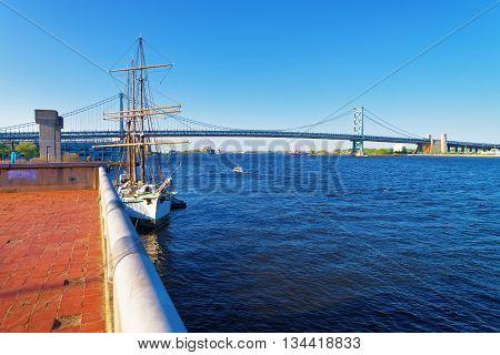Ship At The Waterfront Of Delaware In Philadelphia