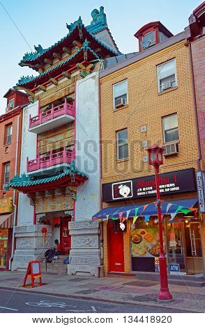 Street In Chinatown In Philadelphia Of Pa