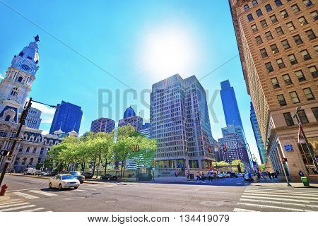 Street View On Philadelphia City Hall And Skyline Of Skyscrapers