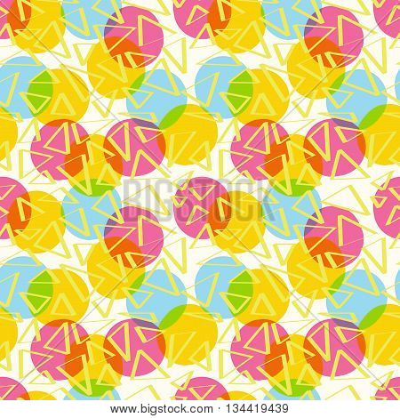 Seamless pattern abstract color with circles and triangles of CMYK