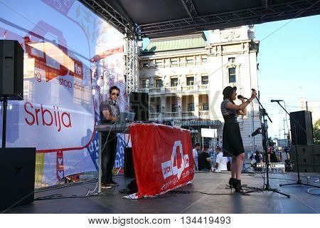 BELGRADE,SERBIA-AUGUST 12 2011:Zoe singer of the band Zemlja gruva at the event dedicated to fighting AIDS under the name Dance4life