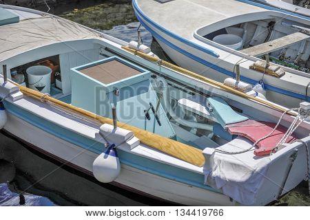 Old wooden boat interior. lumbarda on Island Korcula.