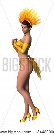 3D Rendering Showgirl On White