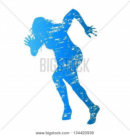 Scratched blue vector silhouette of running woman